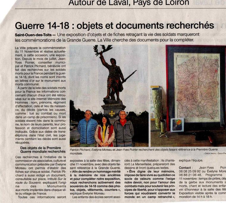 Commémoration à Saint Ouen , Mayenne