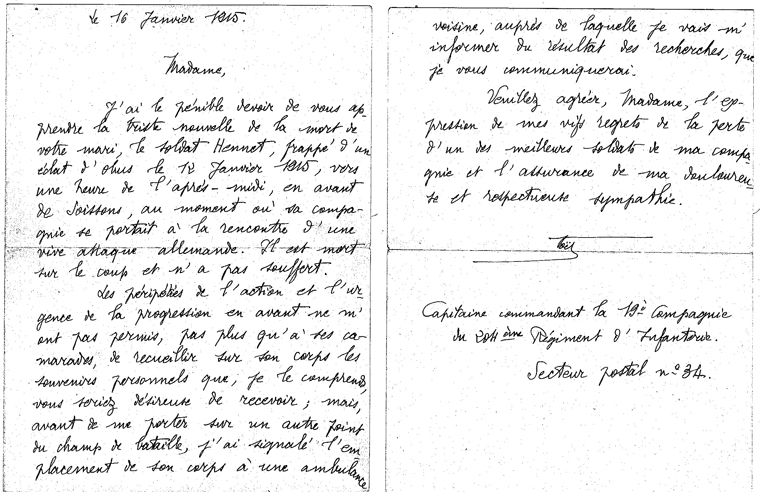 Courrier du capitaine Noël   (Documents: Anne-Marie Benard)
