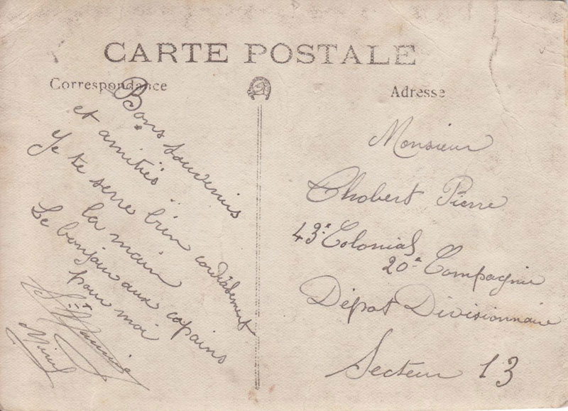 Thobert Pierre. Carte postale. (Document : Jean-Pierre.G)