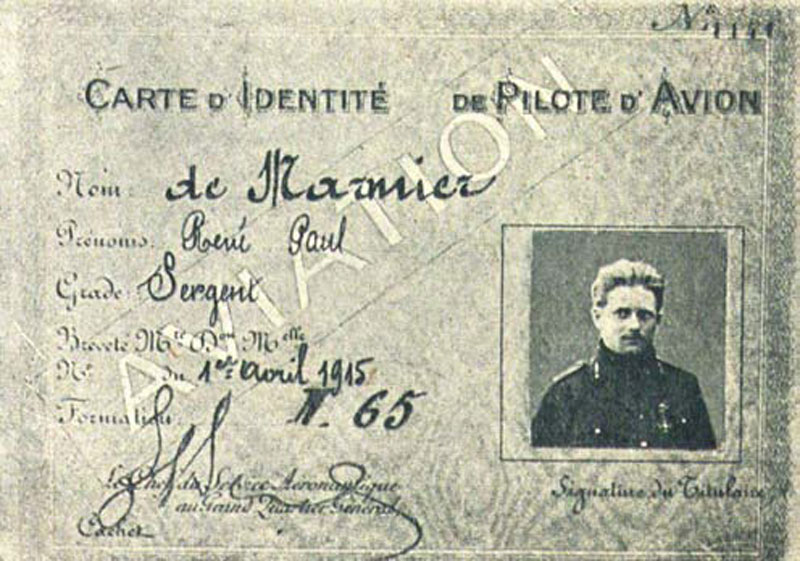 Carte de pilote  avion- de Marmier René (Collection Fernande.B)