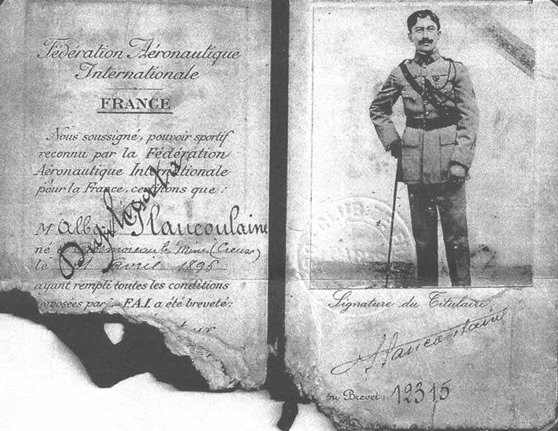 PLANCOULAINE Albert-Brevet fédération aéronautique internationale. (Collection Fernande.B)