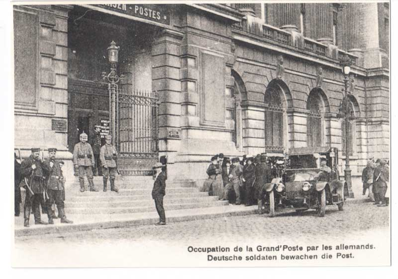 Occupation de la Belgique en 1914; Photo prise à la poste centrale de Bruxelles