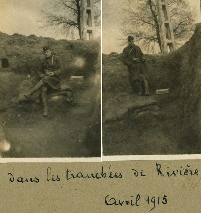 Pas de Calais, avril 1915-tranchées de Rivieres, 7e Dragon. (Collection Patrice Lamy)