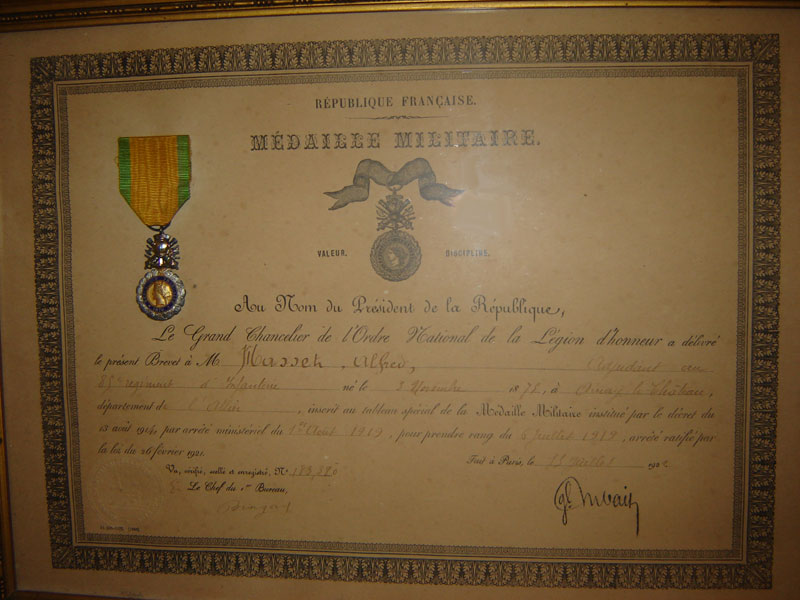 Masset Alfred Mdaille Militaire Collection Prive A R Guerre