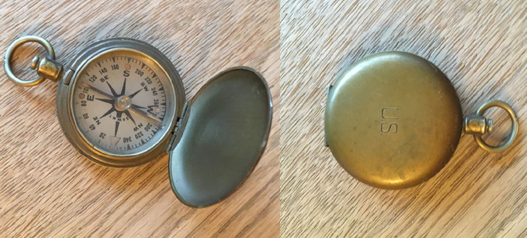 Boussole US army brass military pocket style compass Schwab &  Wuischpard New York (Collection Boitel Michel)