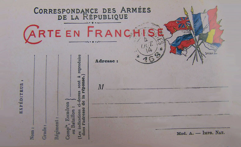 Carte en franchise; 1914 1918.