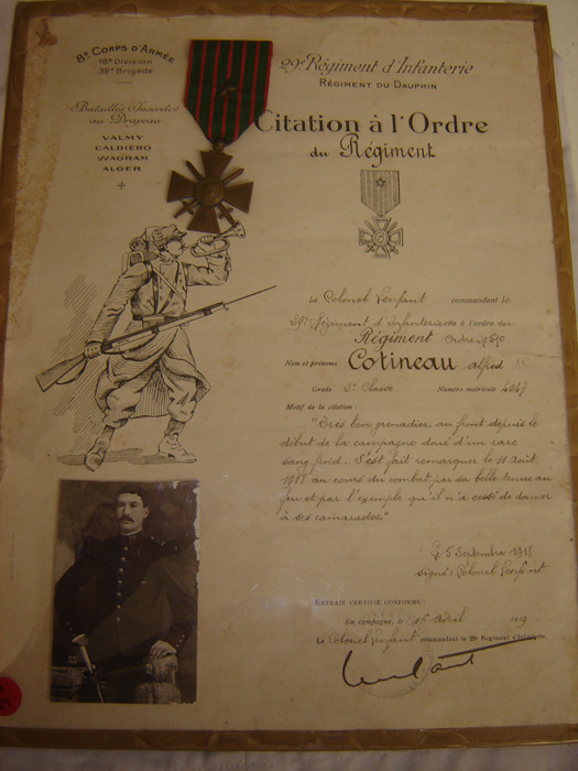 Citation à l'ordre du régiment, Cotineau Alfred (Collection privée: A-R)