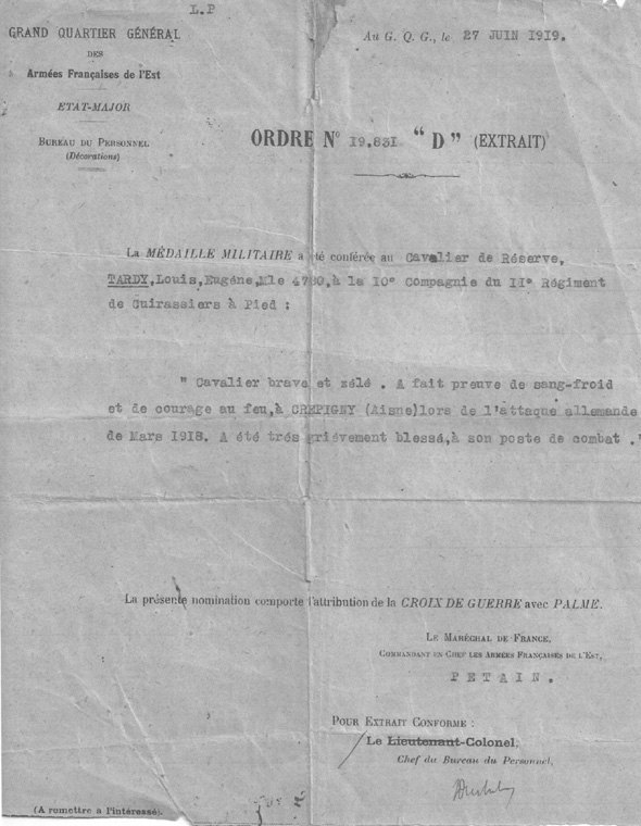 Citation croix guerre Louis Tardy  (Documents: Sonia Frelot-Jean)