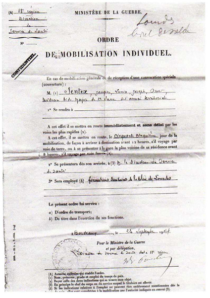 Ordre de mobilisation (Collection Christine Moitry Sentex)