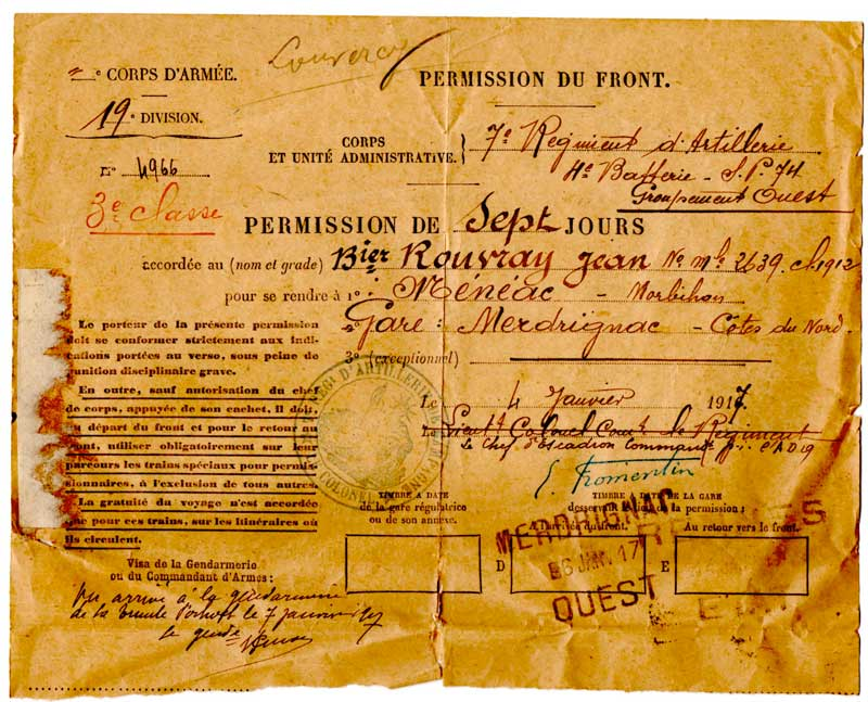 Permission du front  (collection B-Delègue)