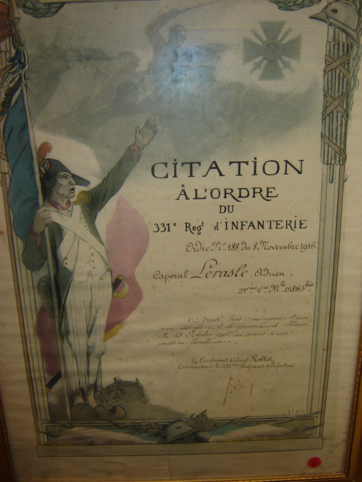 Caporal Lerasle Adrien, citation à l'ordre du 331ème régiment infanterie (Collection privée: A-R)