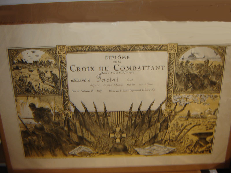 Pactat Louis, Croix du combattant (Collection privée: A-R)