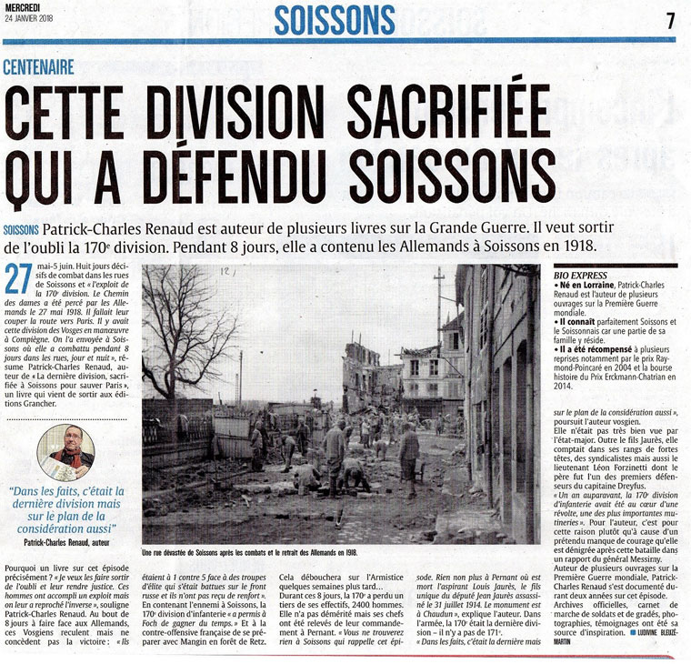 Article l'union 24 01 18 . P-C Renaud