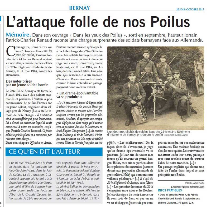 Journal Paris Normandie : attaque folle de nos poilus
